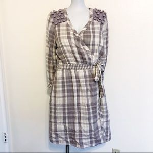 Anthro Saturday Sunday Gingham Pompom Wrap Dress